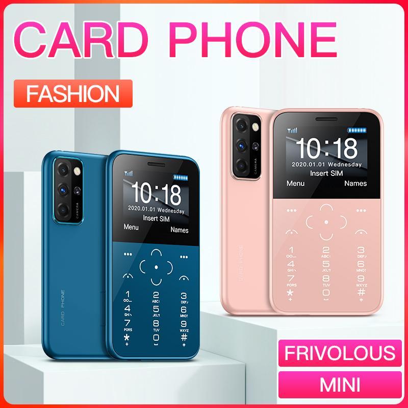 새로운 스타일의 저렴한 어린이 휴대 전화 Téléphone 작은 크기의 콩 폰 미니 휴대 전화 울트라 얇은 신용 카드 전화 FM 라디오 미니 폰