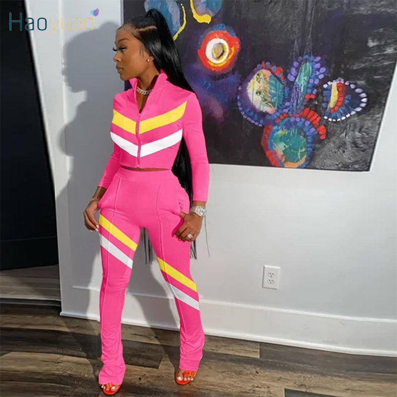 Haoyuan Striped 2 Piece Set Комбинезон с длинным рукавом на молнии + штабелированные леггинсы набор повседневных треков осень женская одежда одежды 201007