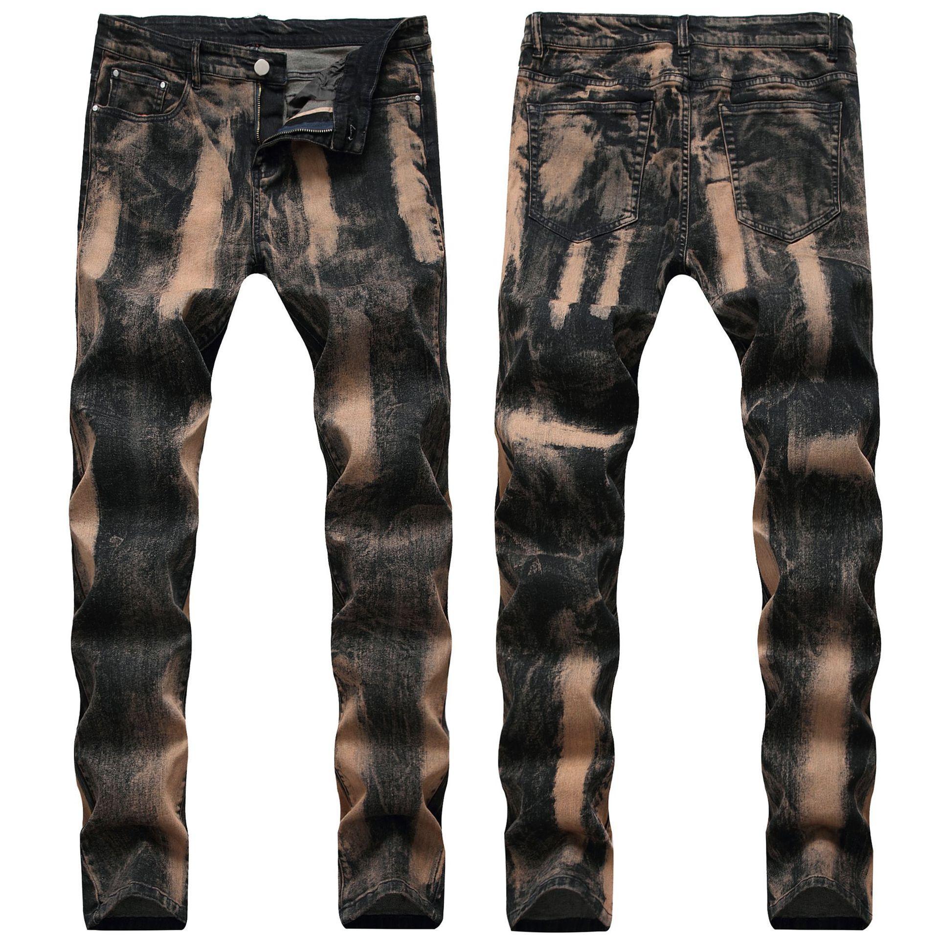 Skinny Mens Vintage Jeans Cool Uomo Distressed Stretch Jeans Slim fit Dritto Denim Biker Jeans Hip Hop Men Streetwear 0777 #