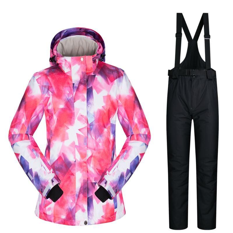 Лыжные лыжные куртки 2021 Лыжный костюм Женщины Бренды Наружный снег Установите ветрозащитные Водонепроницаемые Зимние Брюки и Куртка Горный Сноуборд