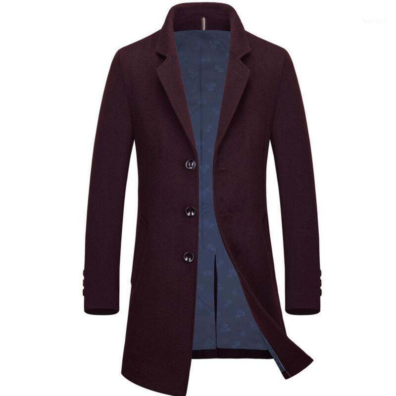 Larga Chaqueta Hombres Moda Moda High-End Ocio Blazer Masculino Mens Wool Abrigos y Chaquetas1