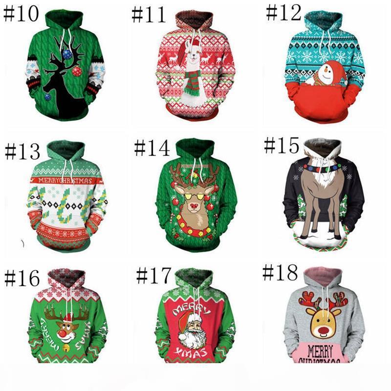Weihnachten Hoodies Weihnachtsbaum Schneedruck Pullover Hoodie Männer Frauen Winter Warme Mit Kapuze Sweathirt Langarm Jumper Kleidung YL926-1