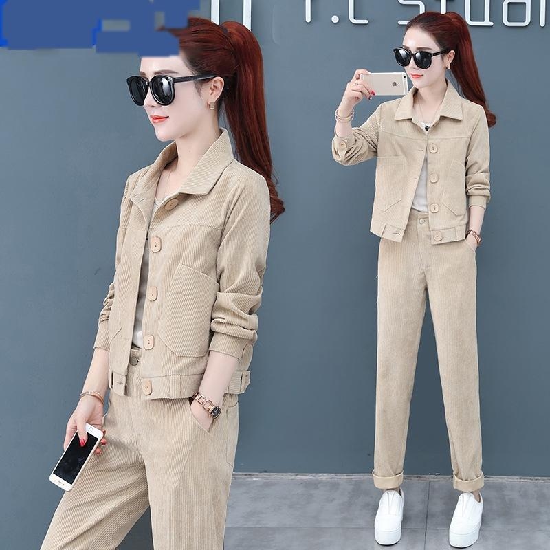 Moda gamba larga tuta 2020 inverno pantaloni primaverili e un vestito di pantaloni suitWide gamba suitautumn nuovi pezzi clothingtwo delle donne coreane di dea di per
