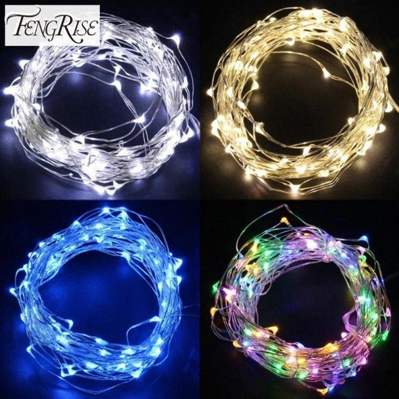 FENGRISE 2 5M Led Copper Wire String Lights Romantic Wedding Fairy Light Decoration Battery Operated New Year Christmas Decor 5zxq#
