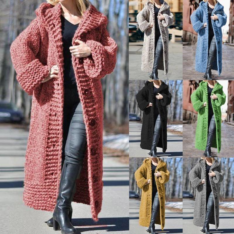 Женские шерстяные сочетания негабаритные зимние женщины расширенные длинные с капюшоном сплошной цветной свитер свитер пальто рукав однобортный кардиган коренастый вязаный вязаный SW