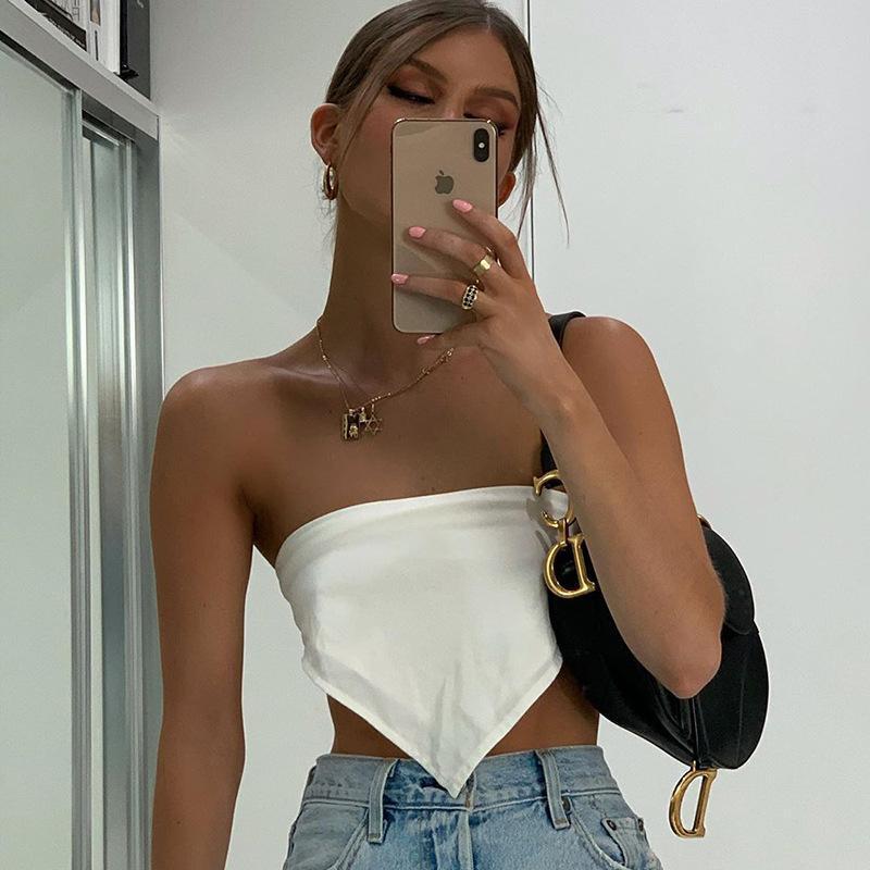 Sexy Crop Top Femmes Cami Été Sans Sans Bretelles Tube Cropped Tops Débutant Blanc Blanc Court Satin Top