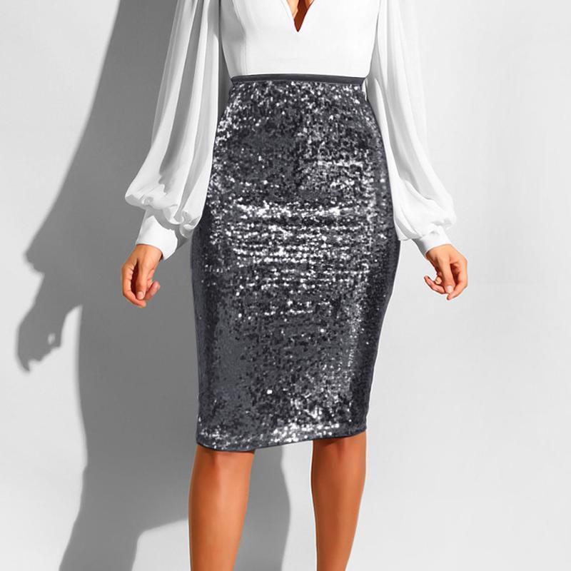 Sexy Sequin Falda Mujer Moda Sólido Cintura Alta Push Up Hip Lápiz Zipper Faldas de fiesta para Ladies Rodilla Longitud Bodycon Falda1