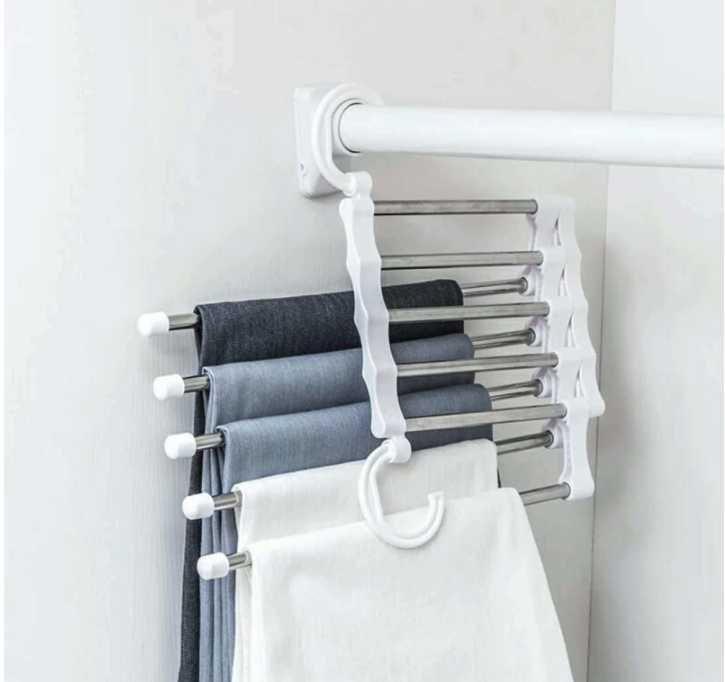 5 طبقات متعددة الوظائف الشماعات بانت التخزين القماش الرف السراويل شنقا الجرف عدم الانزلاق الملابس تنظيم SQCQHI Sports2010