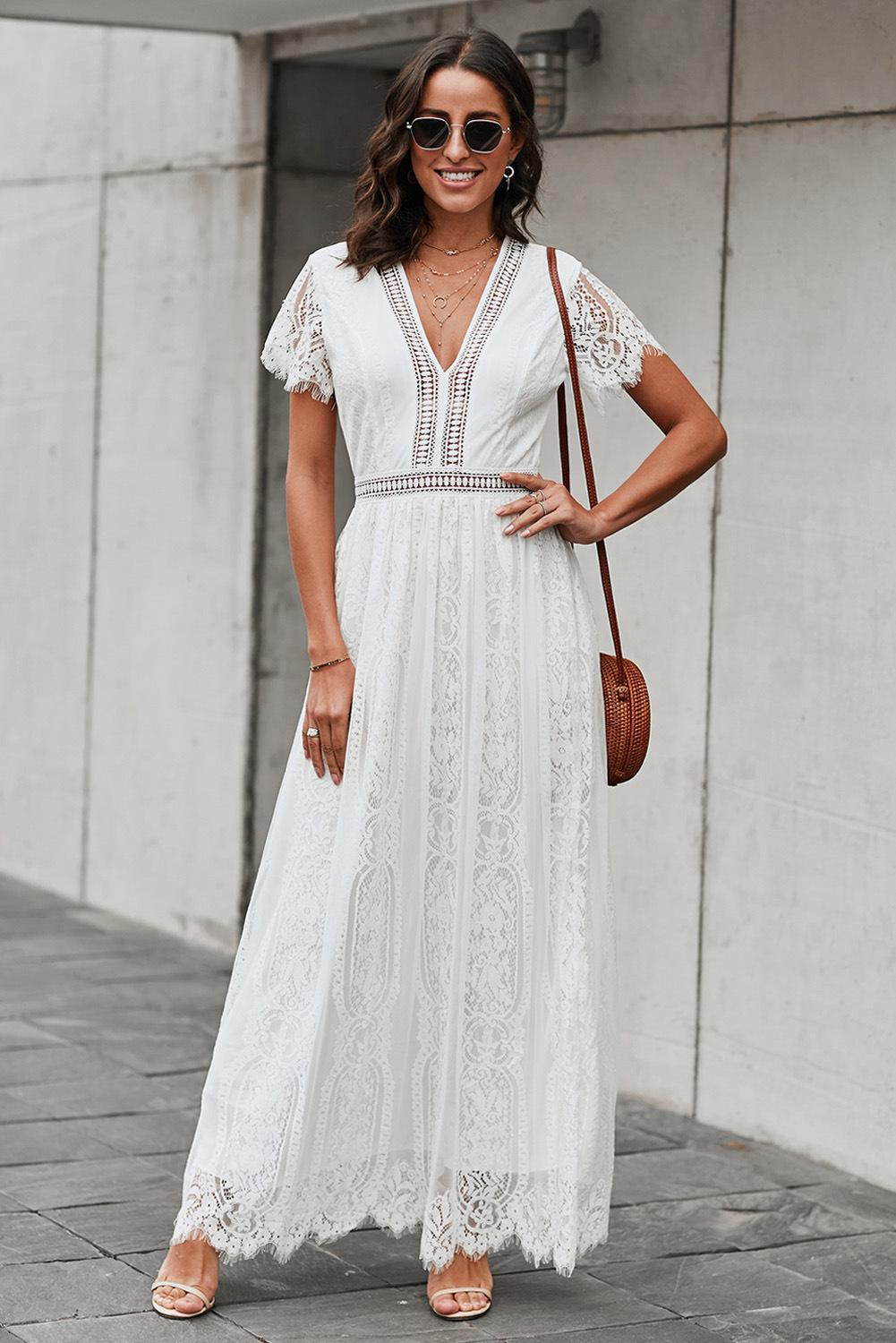Women elegant lace embroidery dresses short sleeve sexy v-neck crochet hollow summer maxi white party dress long casual prom evening dress