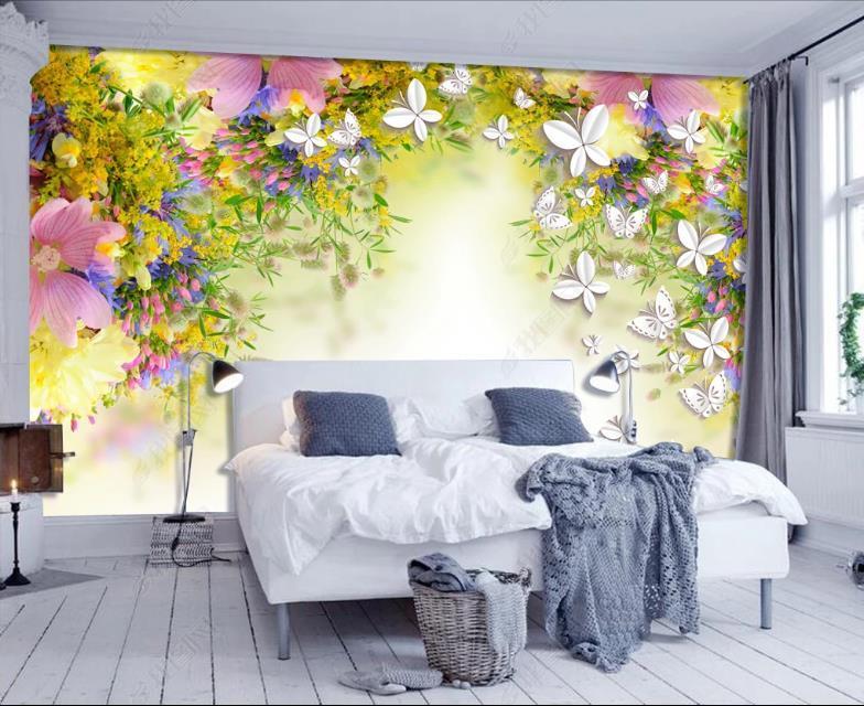 Пользовательский стереоскоп 3D обои росписи цветочные бабочки обои для стен кафе гостиная комната спальня телевизор фона