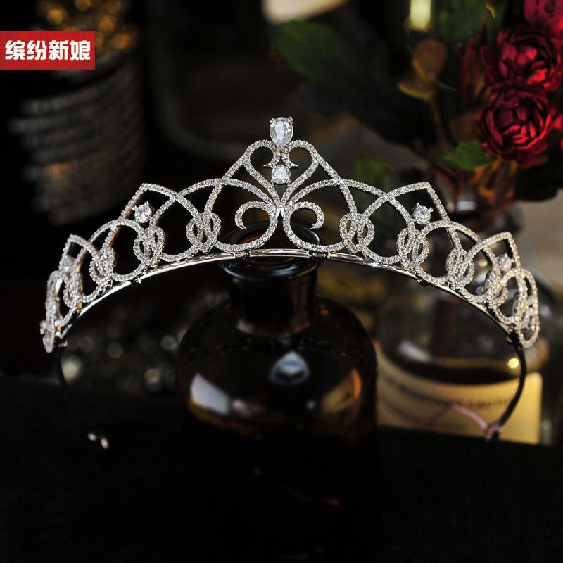 High-end di lusso coreana micro zircone intarsiato corona sposa abito da principessa sposa copricapo