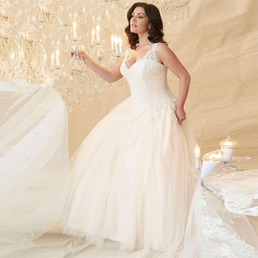 Дешевые свадебные платья плюс размер A-линии шнурка втулки крышки V-образным вырезом Тюль Большой Женщины Свадебные платья Robe De Mariage