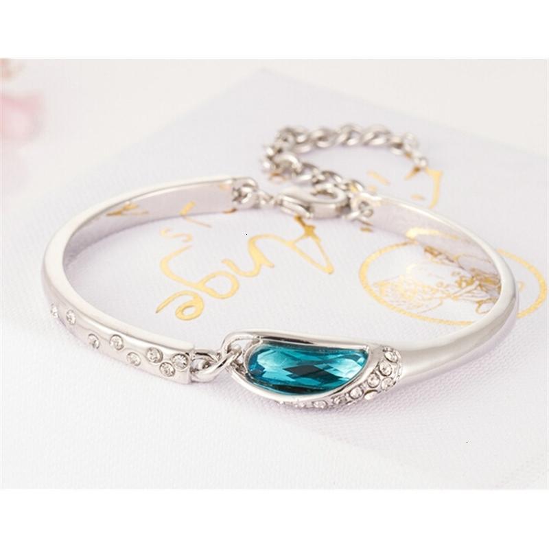 Stil luxus blau charms armbänder neue saphhir österreich diamant armreif armband 925 sterling silber glas schuhe hand jude