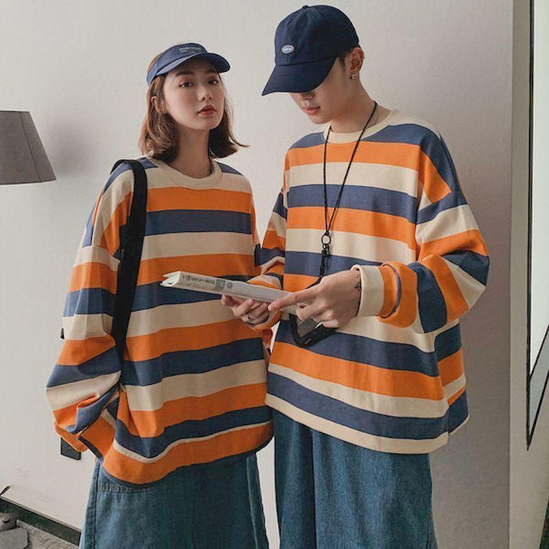 Sweats Sweats Design Automne Super 2020 Long Long Niche et Nouvelle chemise de feu en vrac Sens Sens Shirt à rayures pour hommes Sweathirt Femmes TFCML