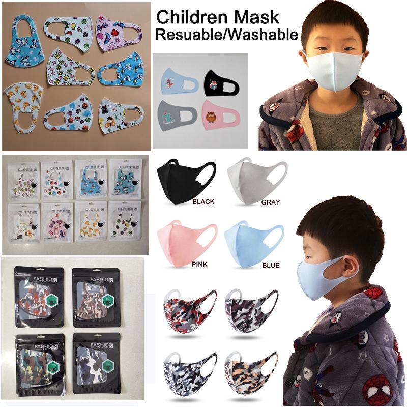 Resuable Mask Kinder Kinder Masken Designer Gesicht Mundnasenschutz Baumwolle Masken abwaschbar Art und Weise Anti-Staubmasken DHL-schnelle Anlieferung