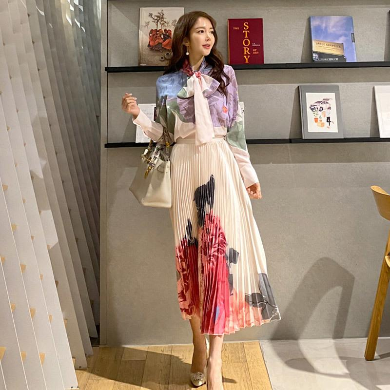 Las mujeres elegantes trajes impreso floral 2-Piece Mujer de manga larga arco del collar de gasa top de la camisa plisada cintura alta falda larga Set A1111