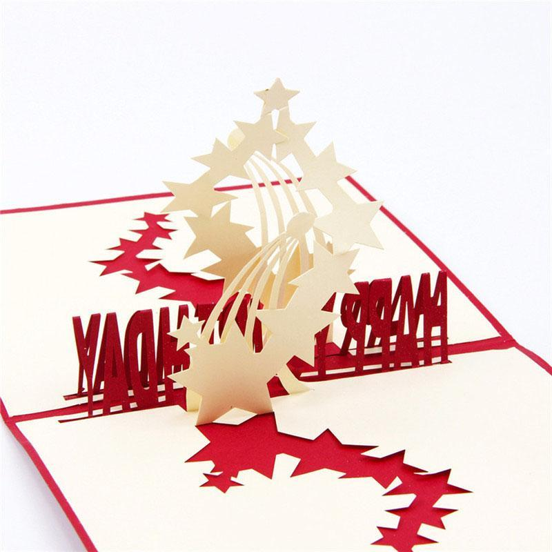3D Laser Cut Handmade Carving Stars in the Sky Paper Invitation Greeting Cards PostCard Happy Birthday Party Kids Creative Gift