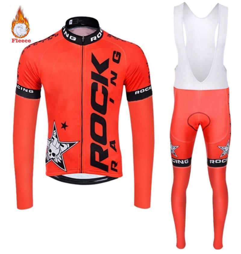2020 Yeni Erkekler Kış Termal Bisiklet Giyim Kaya Uzun Kollu Bisiklet Jersey Seti Ropa Ciclismo MTB Bisiklet Maillot Bisiklet Üniforma