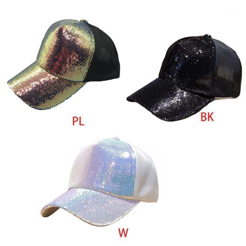 Paillettes multicolore Unisex Maglia da baseball Maglia indietro Party Snapback Trucker Hat 2xpd1