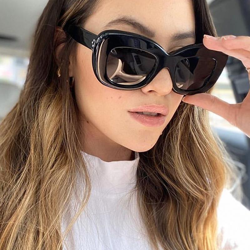 Markenschirme Schwarze Frauen Sonnenbrille Für Niet Neue Mode Vintage Gradient Leopard Braun Sonnenbrille Weibliche UV400 Square Männer Bbupe