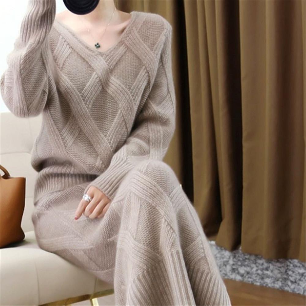 Nuevos 2020 de invierno de punto de Womans se adaptan a sistemas grueso suéter flojo + lápiz Faldas para Mujer ocasional de las señoras de dos piezas de traje-C1103 calidad