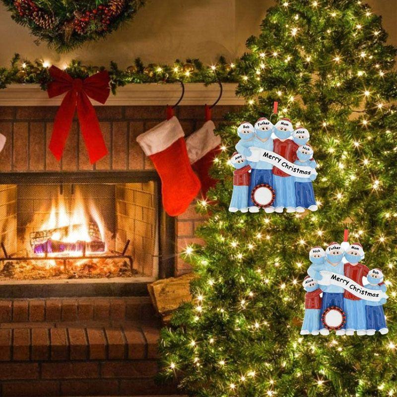 New Fashion 2020 Quarantine Christmas Decoration PVC Blue Color DIY Home Family Christmas Party Tree Door DIY Hanging Pendant