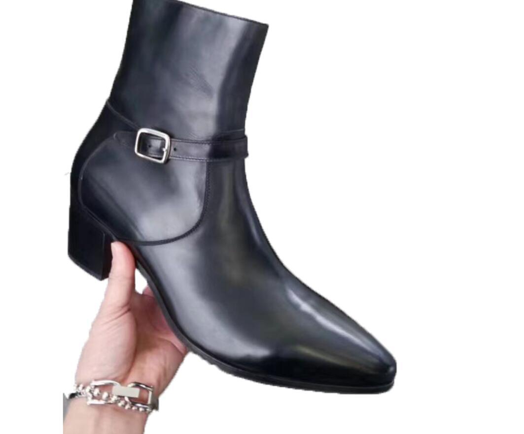 2020 neue schwarze Stiefel Männer Echtlederstiefel westlichen Stil Cowboy Knöchelschuhe hoch oben Reißverschluss Männer Partei bootet