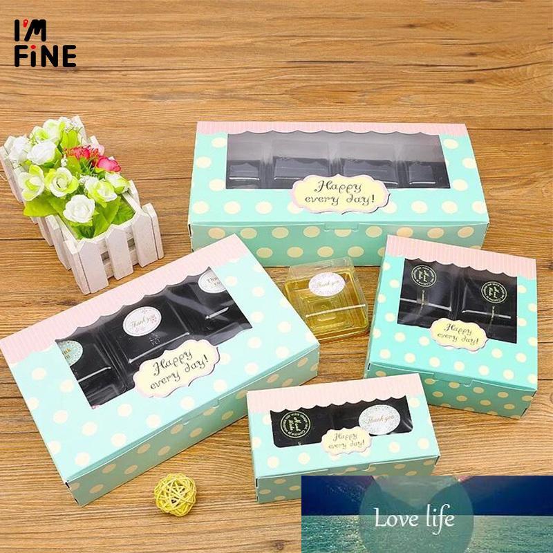 20 Kraft galletas de la galleta Embalaje Papel boda, artesanía Cake Box con ventanas de PVC, magdalena de embalaje de cartón de regalo caja de papel