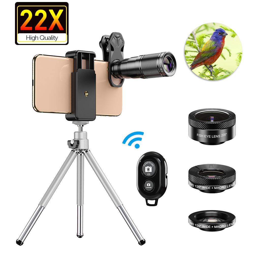 APEXEL HD Telefon Kamera Lens Kiti Telefoto Zoom Lens Teleskop Monoküler Geniş Makro Fisheye Lens Tripod Uzak LJ201112