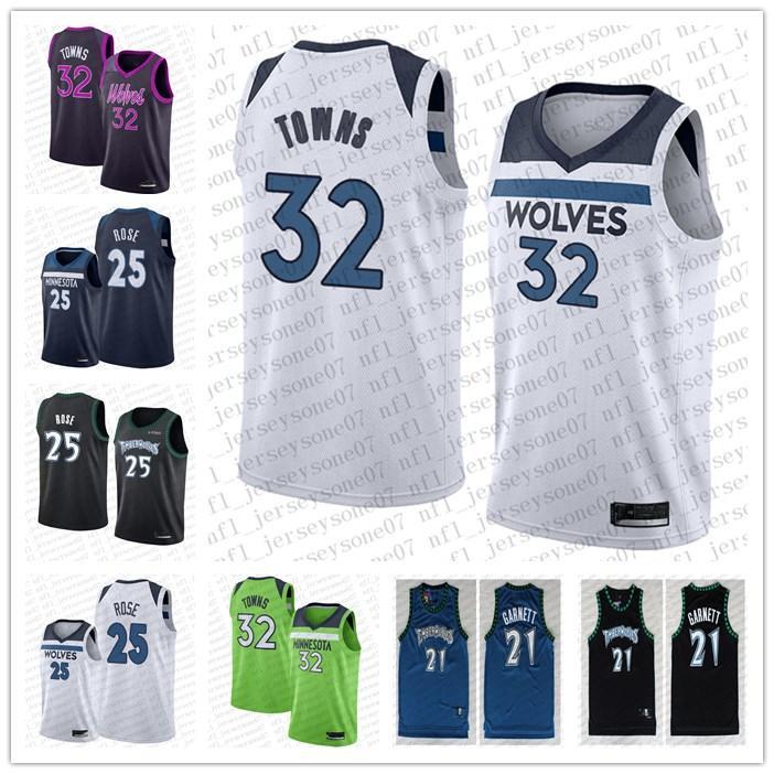 Özel erkek Bayan Gençlik MinnesotaTimberwolves 21 KevinGarnett 22 AndrewWiggins 25 DerrickGül beyaz siyah gerileme ba