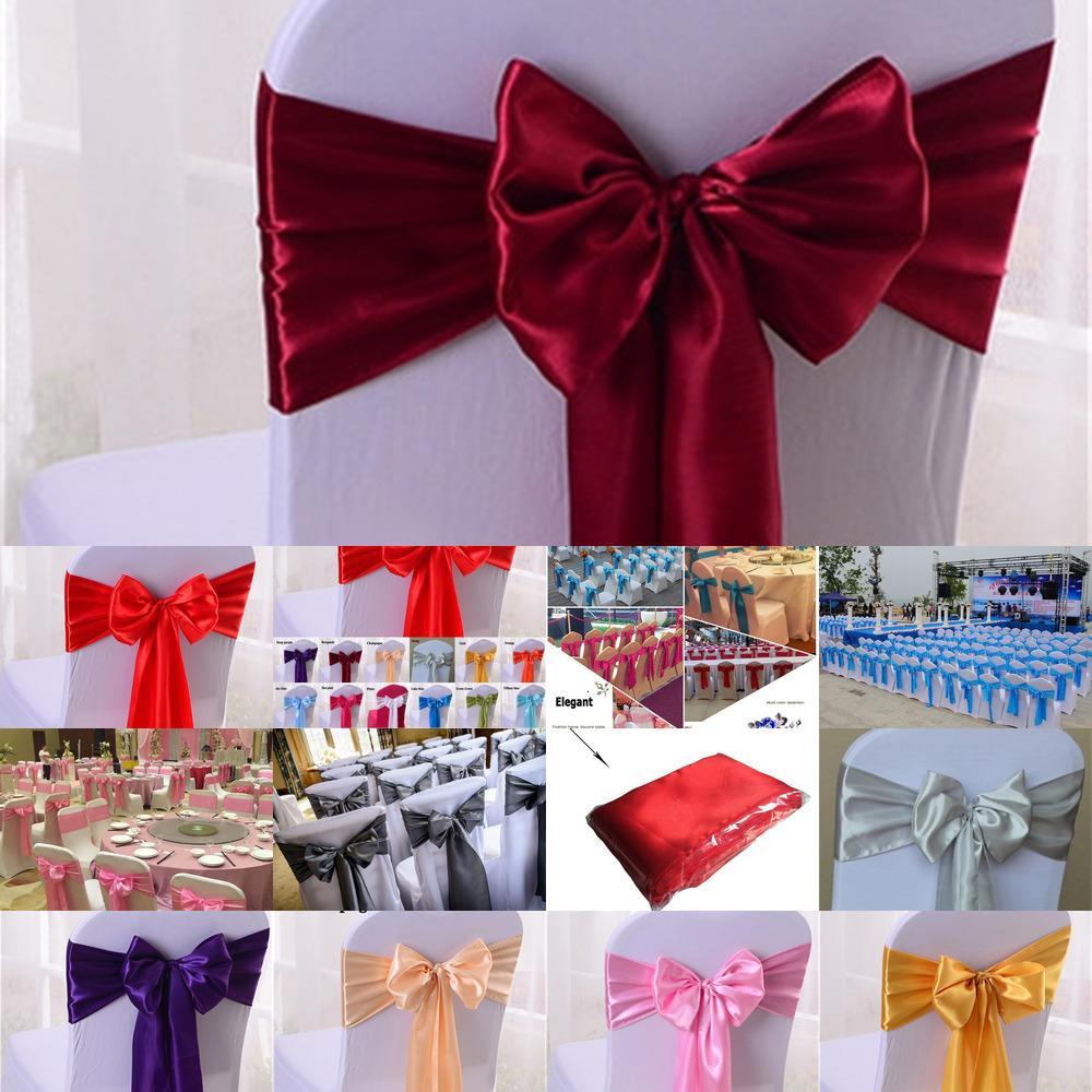 Cover Sash Bow Cravate Decoration Decoration Satin Parti Satin Fournitures Chaise Compagnies pour mariage Désocoration 3 NCCV3