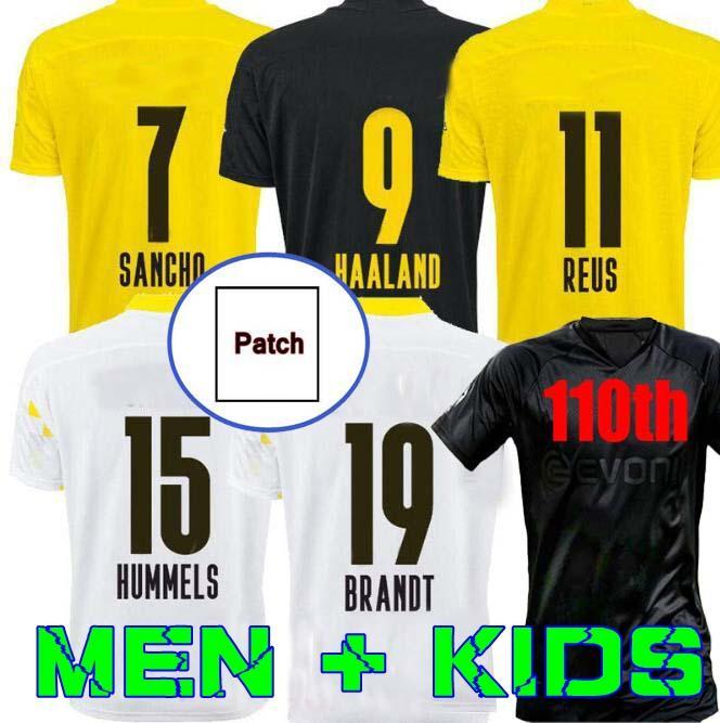 Dortmund Haaland Reus 20 21 Brandt Soccer Jersey 2020 2021 قمصان كرة القدم Bellingham Sancho 110th Men + Kids Mailleot De Foot Good Home