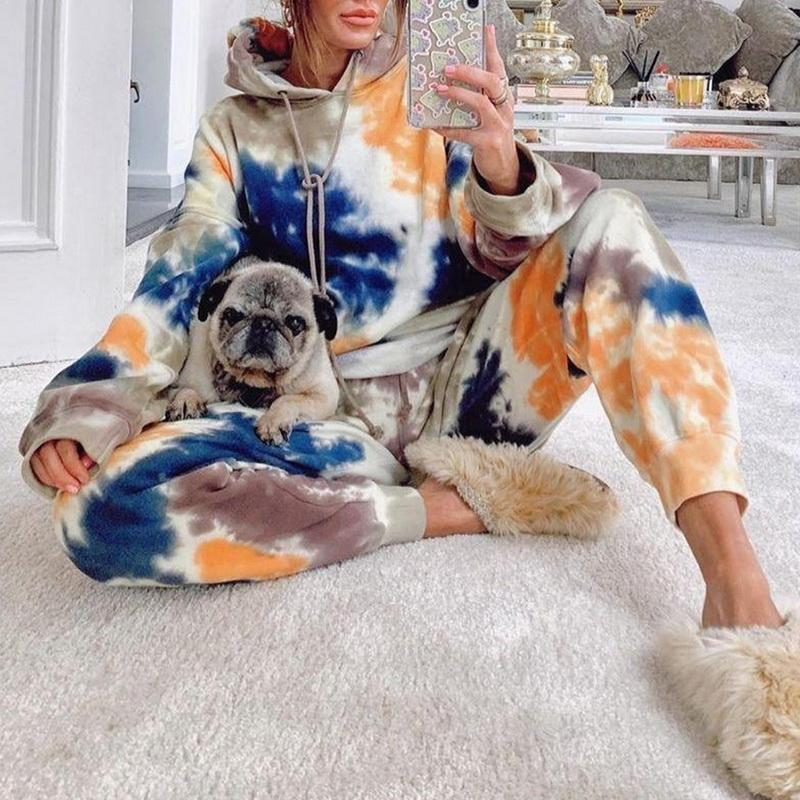 Fashion Women Jogging Suit 2 Pieces Tracksuit Tie-dye Printed Sweatsuit Casual Hoodie and Sweat Pants Two Piece Set Outfit