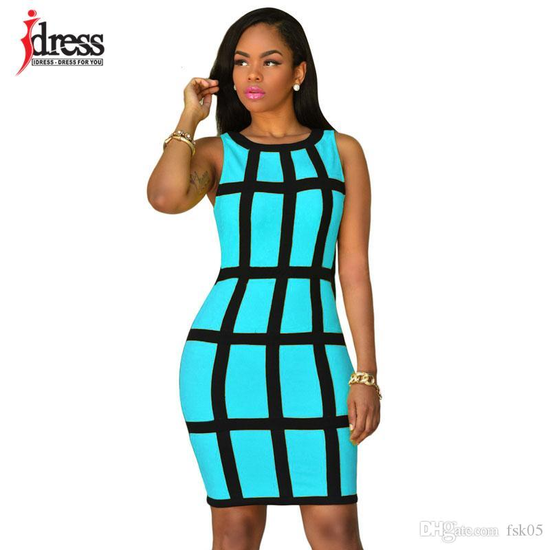 IDress Women Summer Bodycon Dress 2020 Tank Sleeveless Patchwork Pink Yellow Mini Robe Sexy Club Dress Vestidos Party