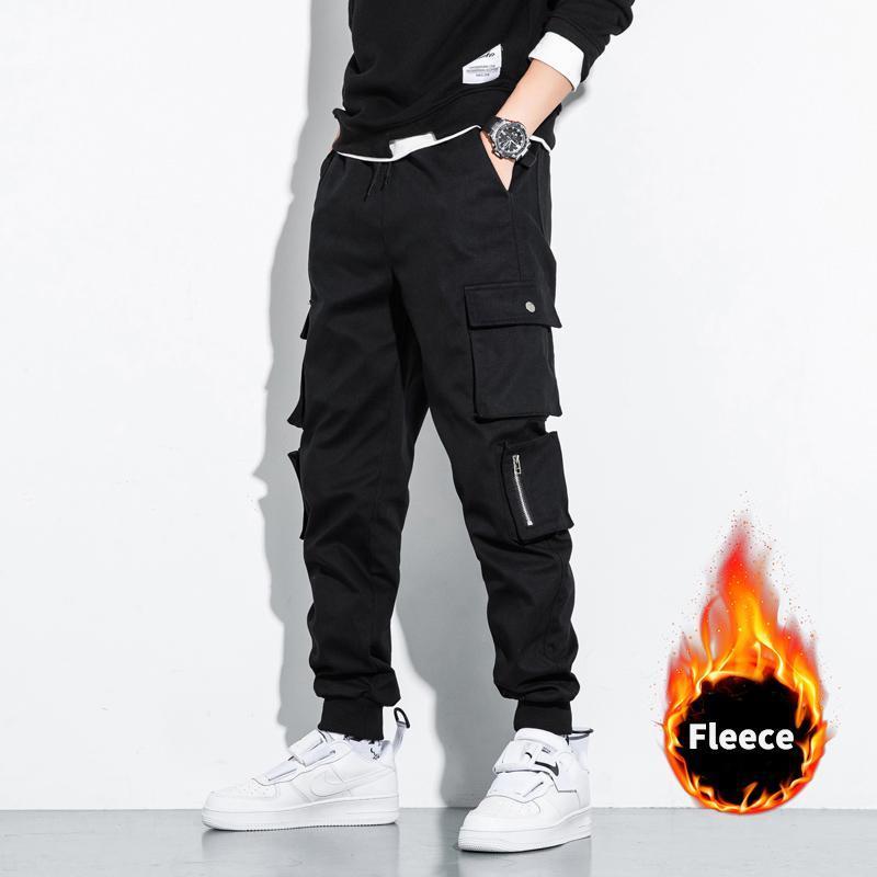 2020 Nouveau mode d'hiver épais molletonnée Pantalons simple Hommes Streetwear multi-poches Pantalons Cargo Jogger
