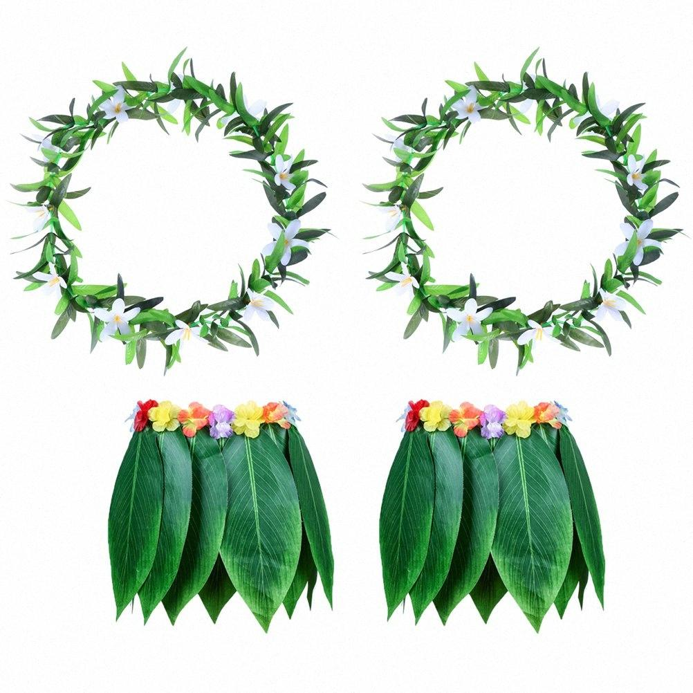4PCS Tropical Beach Vêtements Hawaii Costume Grass Skirt Feuilles Jupe Danse avec Garland Party Luau festival Traval gMlE #