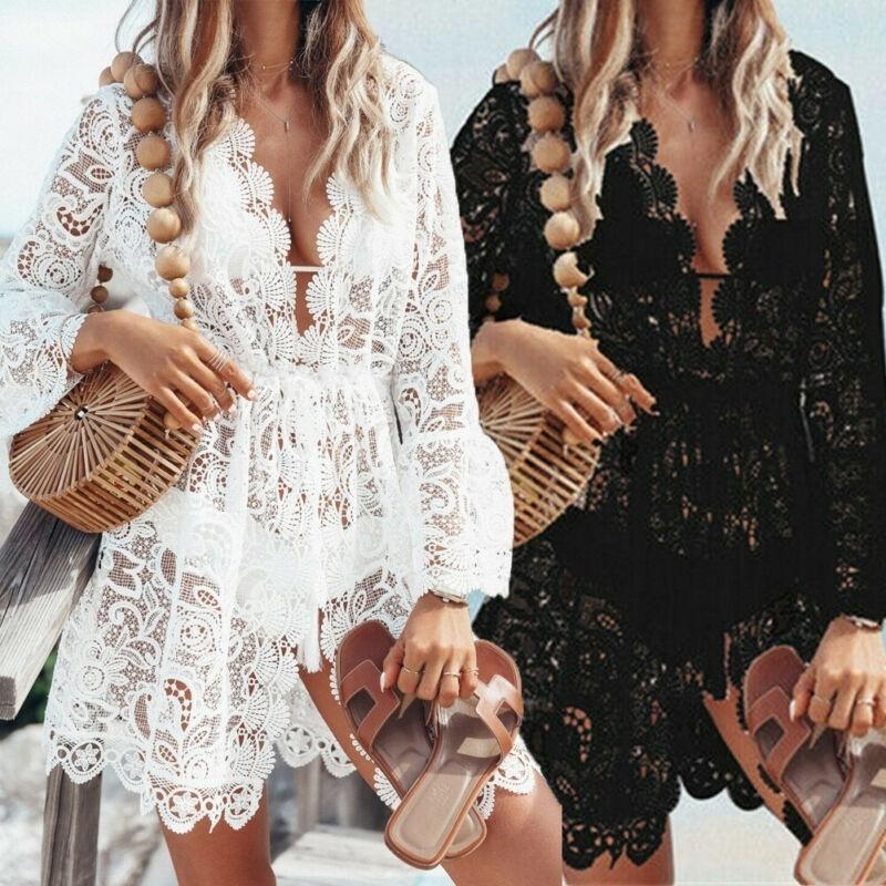 Costumi da bagno da donna donna pizzo crochet bikini cover up beach estate floral srow out dress top coveups per