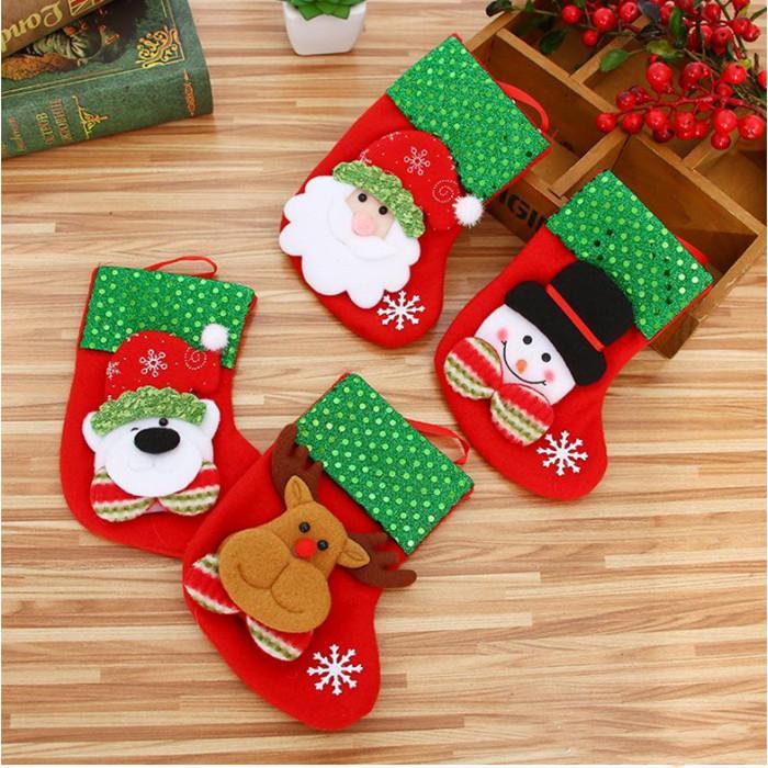 Noel Ağacı Dekoru kolye YHM03-3 için Noel Çorabı ayı geyik Çorap Sevimli Şeker Hediye çanta kardan adam Santa Claus Asma Mini Noel
