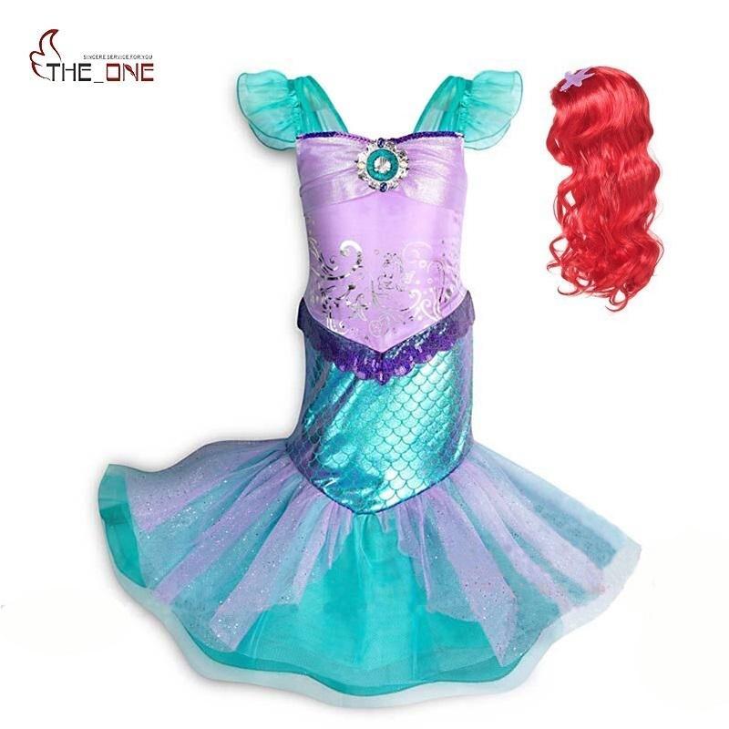 Muababy Girl Маленькая Русалка Fancy Dress Up Детская фотография Тюль Принцесса Костюм Костюм Девушки Рождественская вечеринка Длинное платье LJ200822