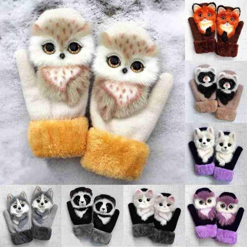 Beş Parmak Eldiven Peluş Yastıklı Hayvan Eldivenler Kedi Köpek Panda Racoon Tasarım Kız Çocuk Kış Sıcak Kalın Tam Eldivenler1