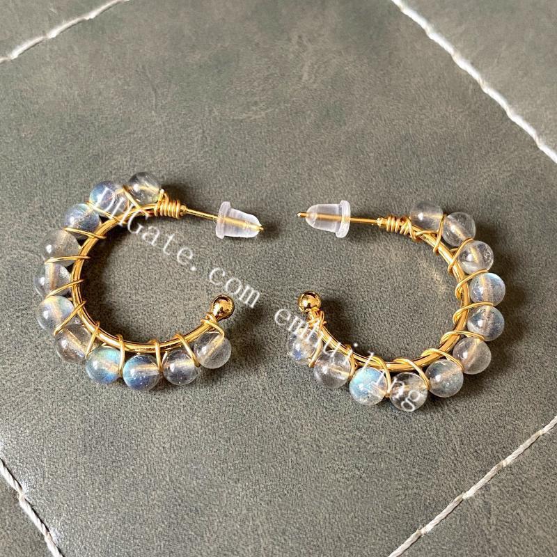 30Pairs Elegant Women's 14k Gold Filled Hand Wrapped 4mm Genuine Round Natural Rainbow Labradorite Moonstone Gemstone Beads C Hoop Earrings