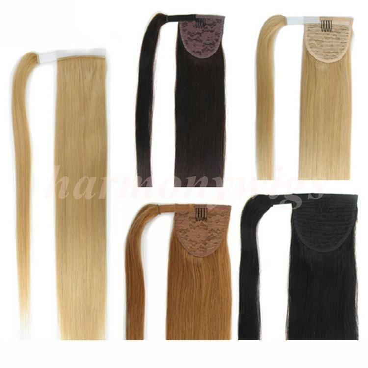 Top Qualité 100% Cheveux Humains Queue de queue 20 22inch 100g Double Drawn Remy Droit Brésilien Indian Hair Extensions Plus de couleurs