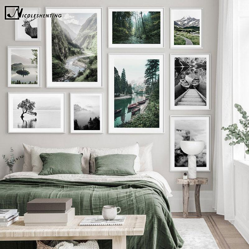 Scandinavian Black White Nature Landscape Poster Nordic Boat Lake Mountain Print Canvas Wall Art Painting Photography Picture
