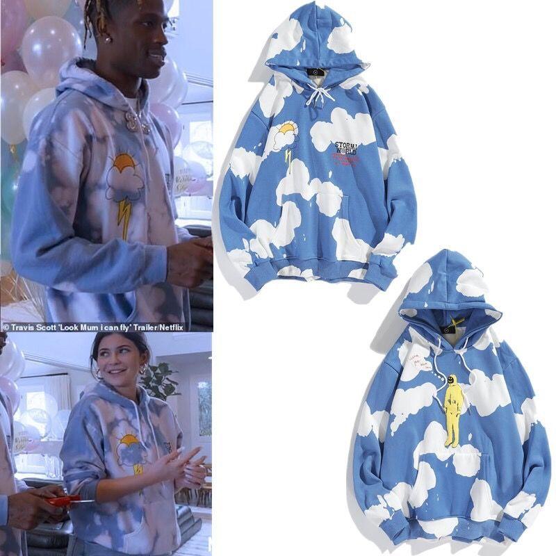 travis europäische und amerikanische Modemarke Tie-Dye lose Männer und Frauen Paar Pullover mit langen Ärmeln mit Kapuze Pullover Jacke
