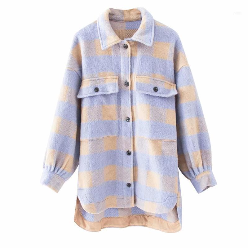 2020 Primavera Purra Púrpura Abrigo Amarillo Abrigo Plaid Bolsillos Estilo Streetwear Mujer Oversize Abrigos Chaqueta femenina Chic1