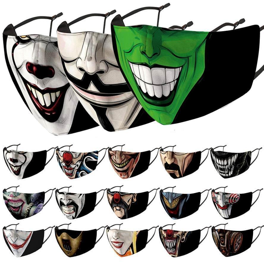 얼굴 마스크 광대 재미 있은 디자이너 패션 클래식 블랙 인쇄 마스크 방진 방풍 헤이즈 교체 가능한 PM2.5 필터 워시 면도기 도매