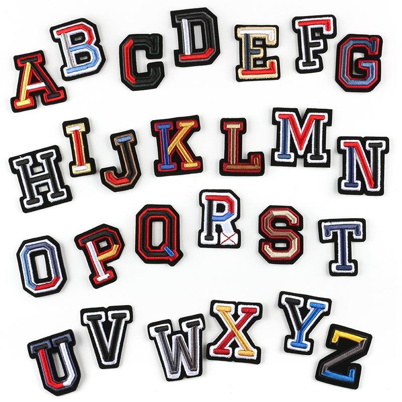 Carta Badges 3D Sew bordado no remendo colorido Hat Etiquetas nome Bolsa shirt DIY Logo emblemas Crafts Alphabet Detalhes no KKB2869