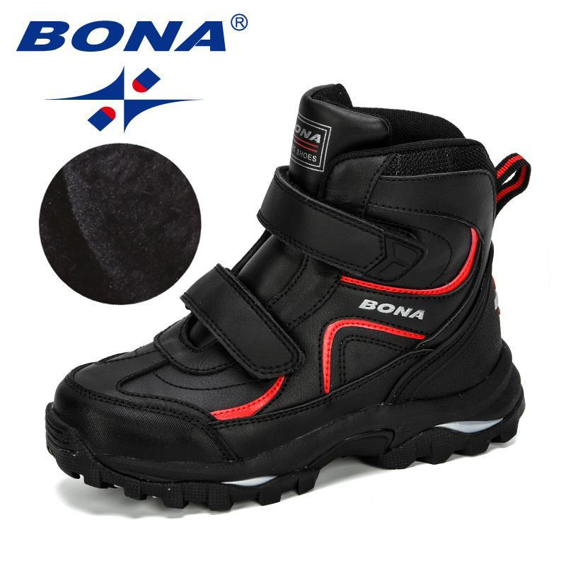 BONA neue Art-Winter-Jungen Stiefel Kinder Schuhe für Kinder-Sneaker Lederstiefel Plüsch Warm Flache Ankle Boots Bequeme 201112