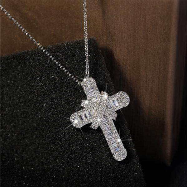 Victoria Wieck Luxuxschmucksachen reale 925 Sterlingsilber pflaster Weiß Topaz CZ-Diamant-Edelstein-Kreuz-Anhänger Glück Frauen Halskette für Partei n6
