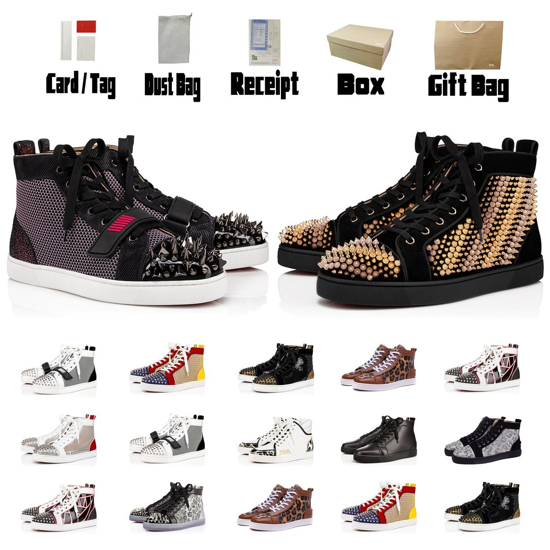 Top Red Bottom Leather Luxury Flat Soled Casual Shoes Fashion Black White Gold Pink Party Couple Dress Shoes With Box Men Boots Booties
